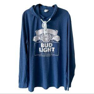 Bud Light Long Sleeve Hooded Shirt XL